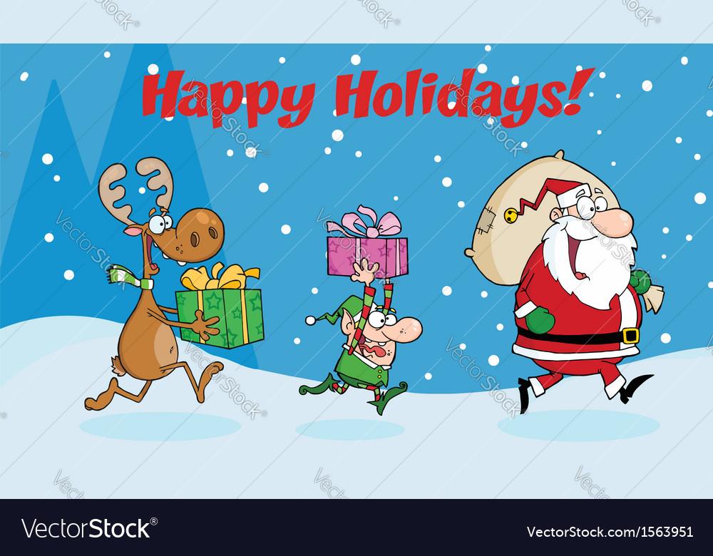 Santa delivering present cartoon vector | Price: 1 Credit (USD $1)