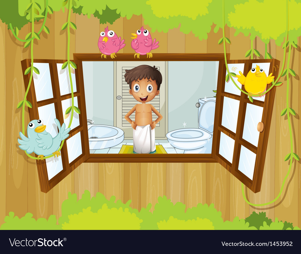 A boy with a towel inside the bathroom vector | Price: 1 Credit (USD $1)