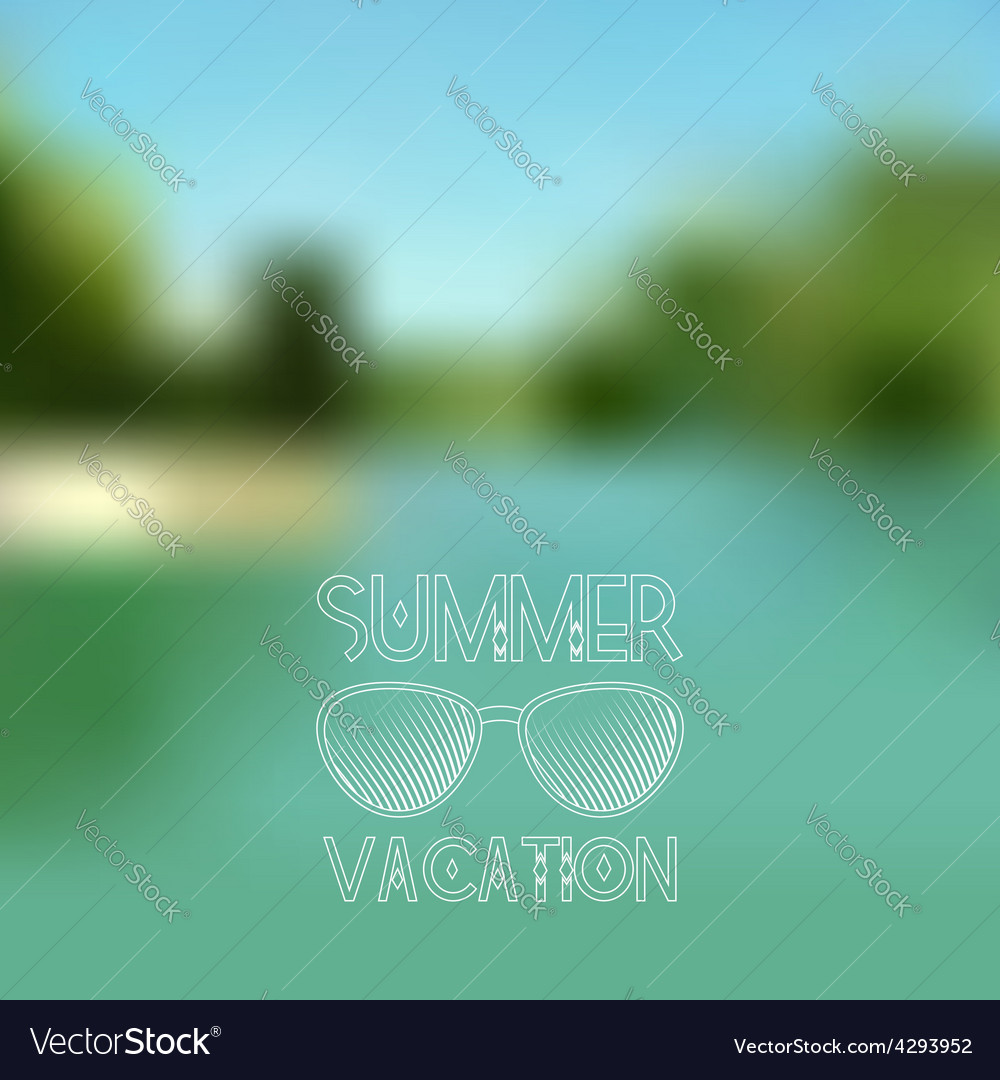 Blurred summer lake background with white sunglass vector | Price: 1 Credit (USD $1)
