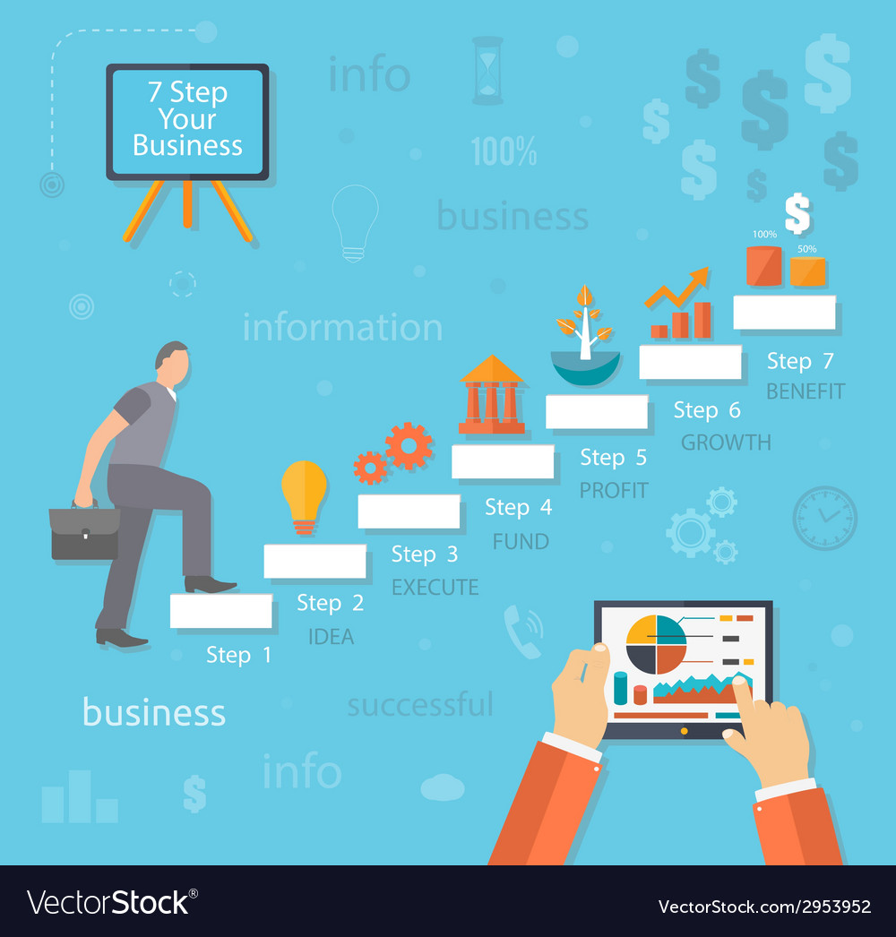 Business man with case rises to top step of stairs vector | Price: 1 Credit (USD $1)
