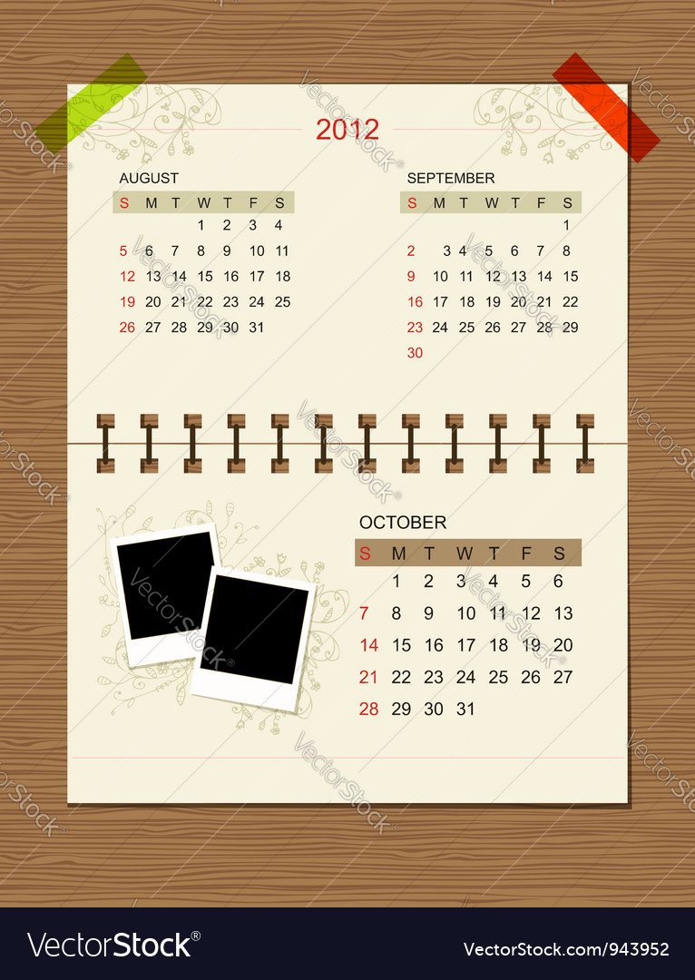 Calendar2012 october vector | Price: 1 Credit (USD $1)