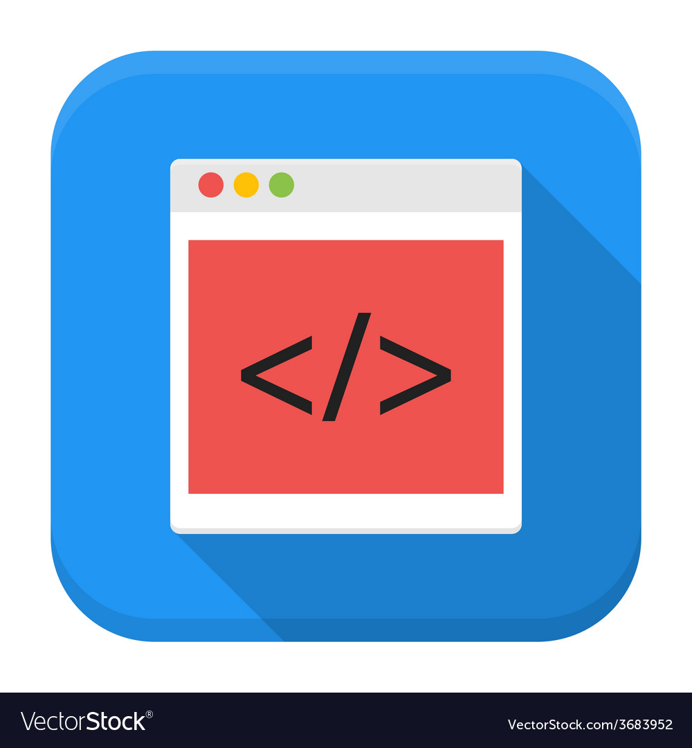 Coding browser app icon with long shadow vector | Price: 1 Credit (USD $1)