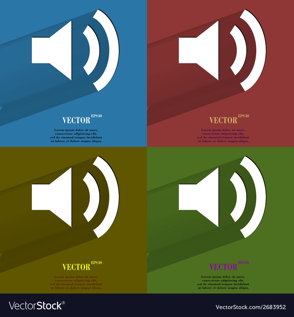 Color set speaker flat modern web button with long vector | Price: 1 Credit (USD $1)