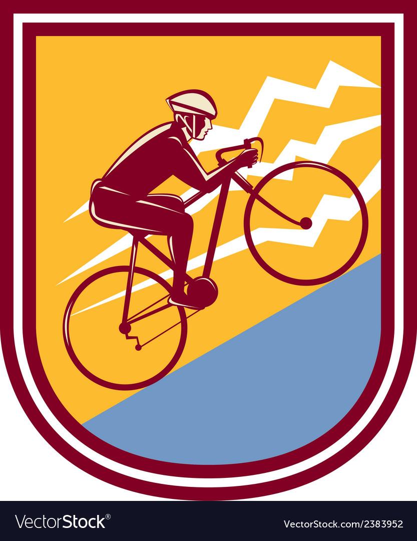 Cyclist riding mountain bike uphill retro vector | Price: 1 Credit (USD $1)