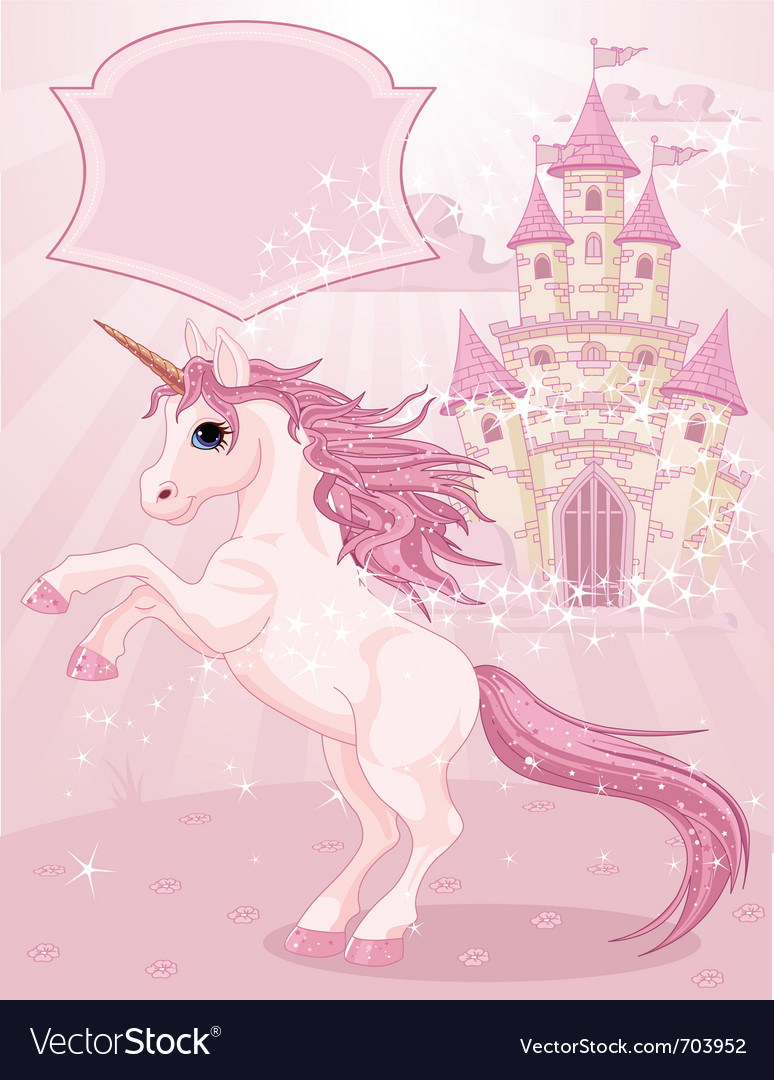Fairy tale castle and unicorn vector | Price: 5 Credit (USD $5)