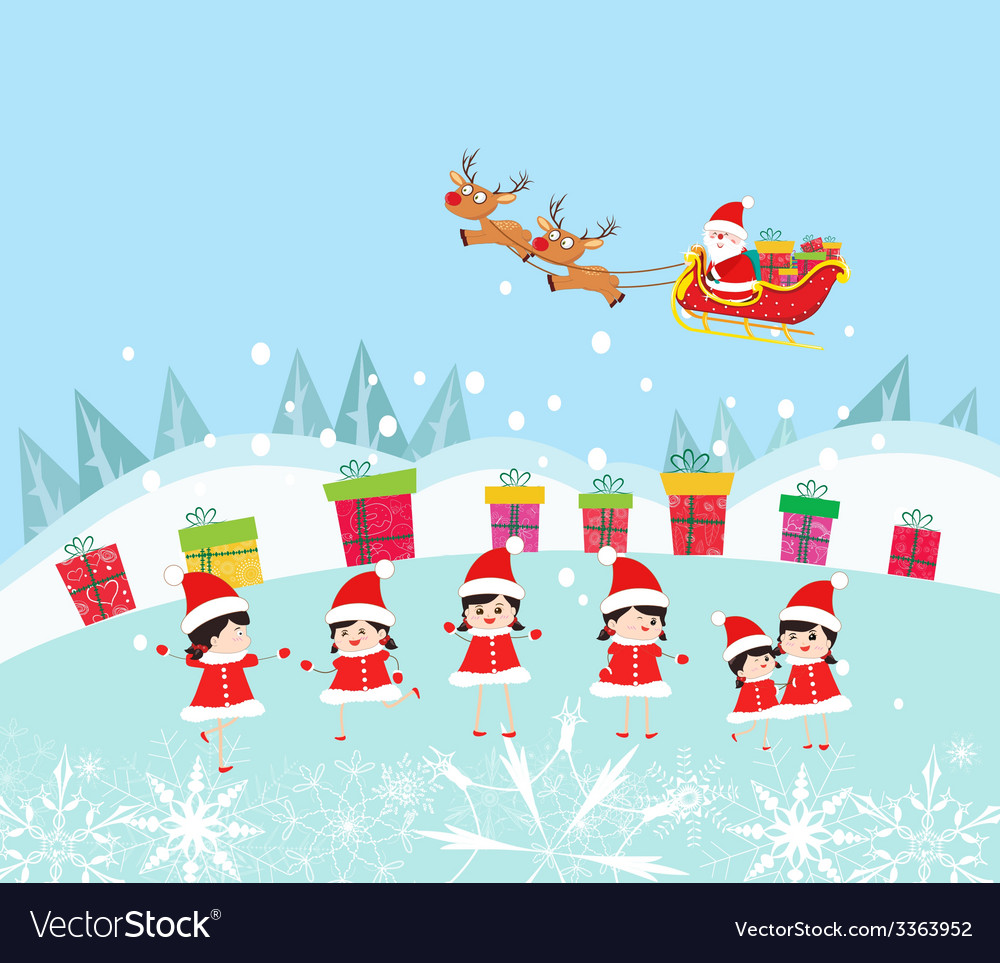 Happy kids decorating santa claus with gifts vector | Price: 1 Credit (USD $1)