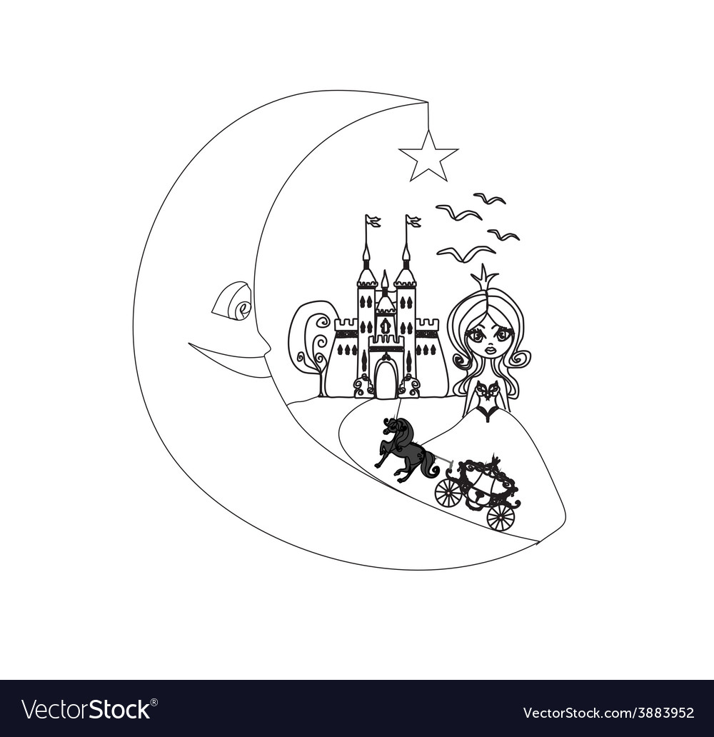 Medieval castleprincess carriage and the moon - vector   Price: 1 Credit (USD $1)