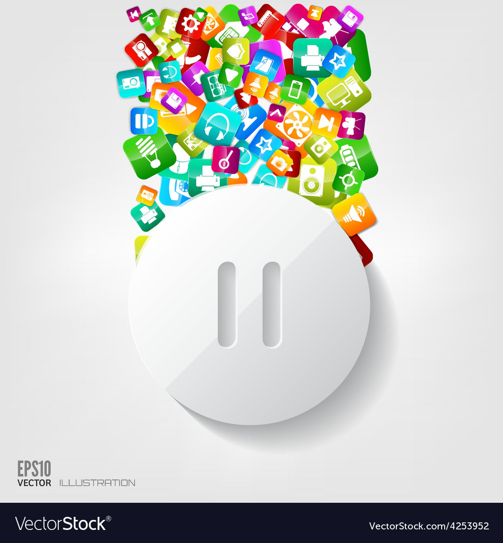 Pause button icon application buttonsocial media vector | Price: 3 Credit (USD $3)