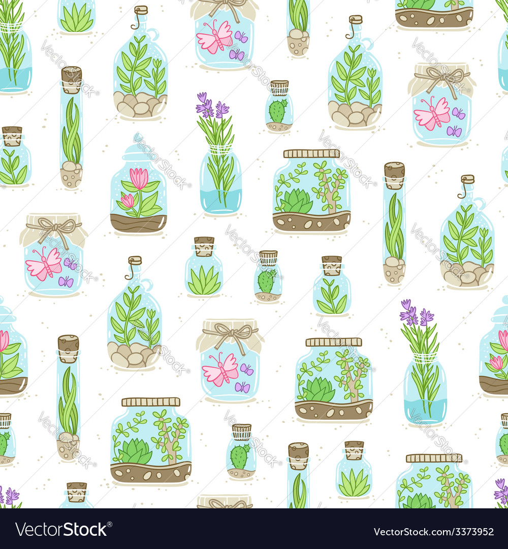 Terrariums on white background seamless pattern vector | Price: 1 Credit (USD $1)