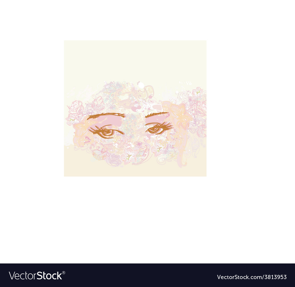 Abstract floral design of beautiful human eyes vector | Price: 1 Credit (USD $1)