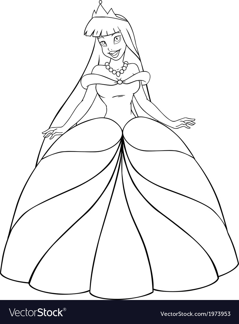 Asian princess coloring page vector | Price: 1 Credit (USD $1)