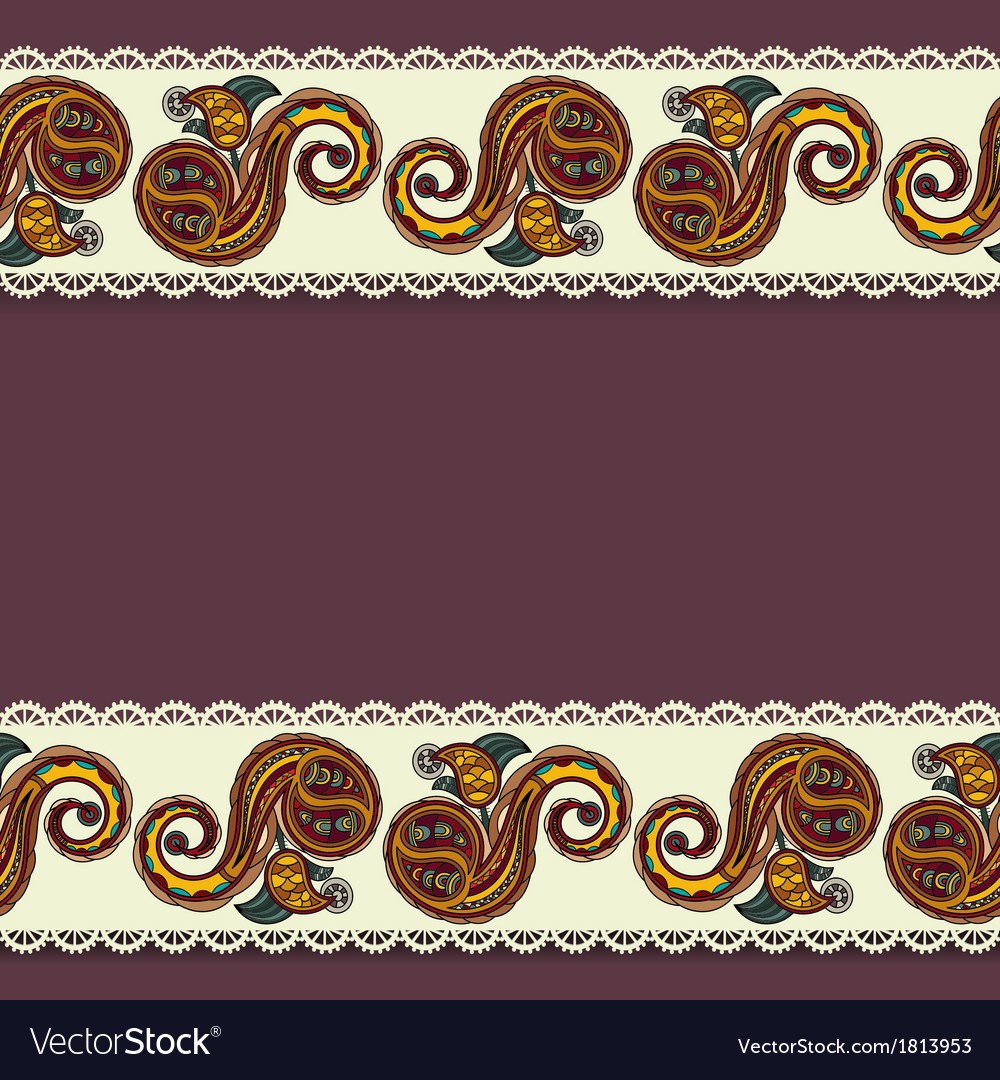 Background with lace and ukrainian floral elements vector | Price: 1 Credit (USD $1)
