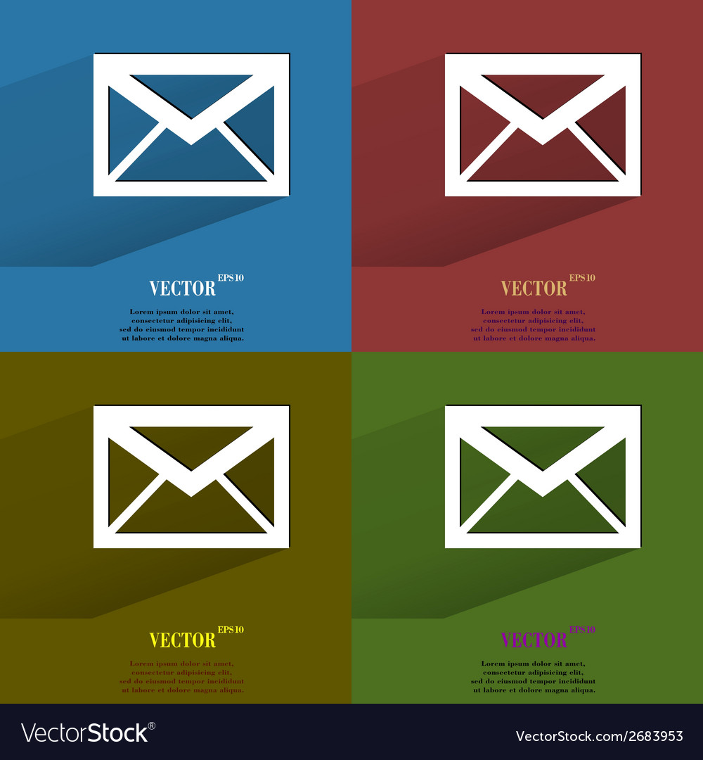 Color set mail envelope flat modern web button vector | Price: 1 Credit (USD $1)