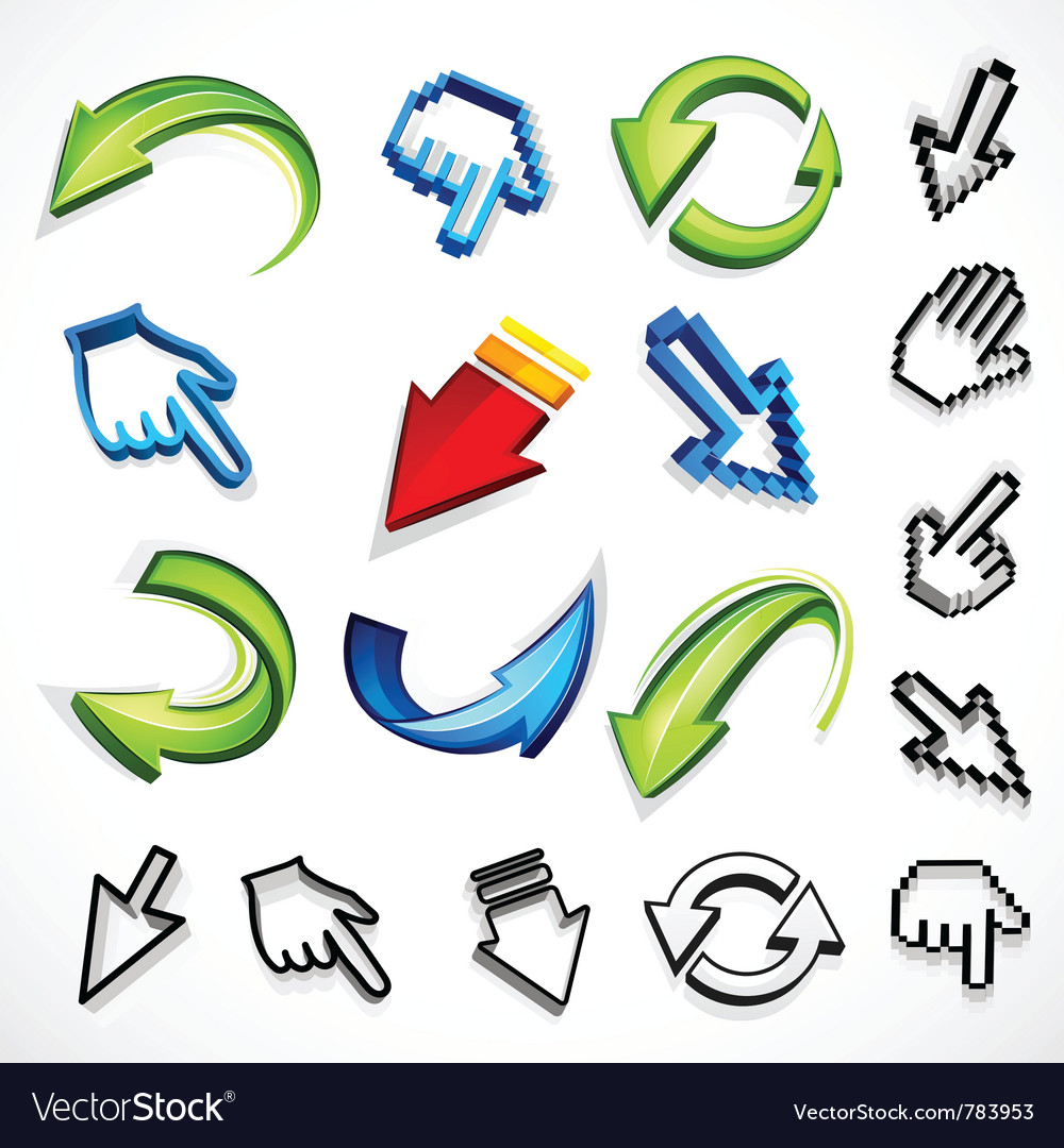 Computer arrow icons vector | Price: 1 Credit (USD $1)