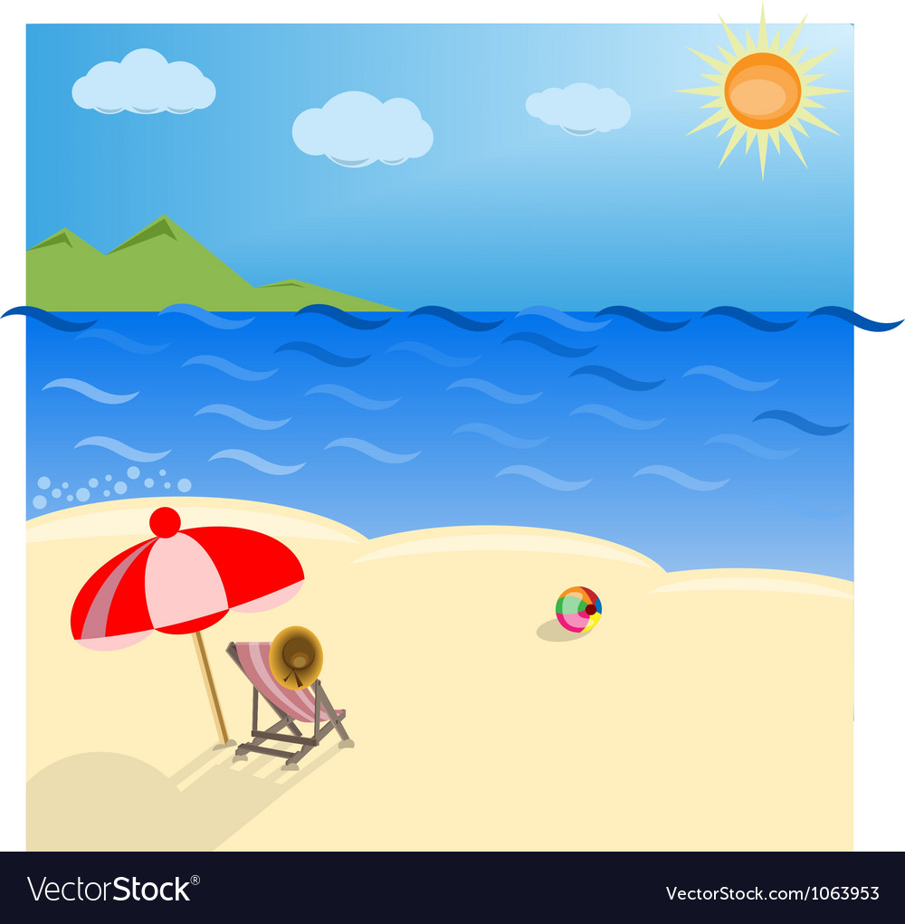 Deck chair and umbrella vector | Price: 1 Credit (USD $1)