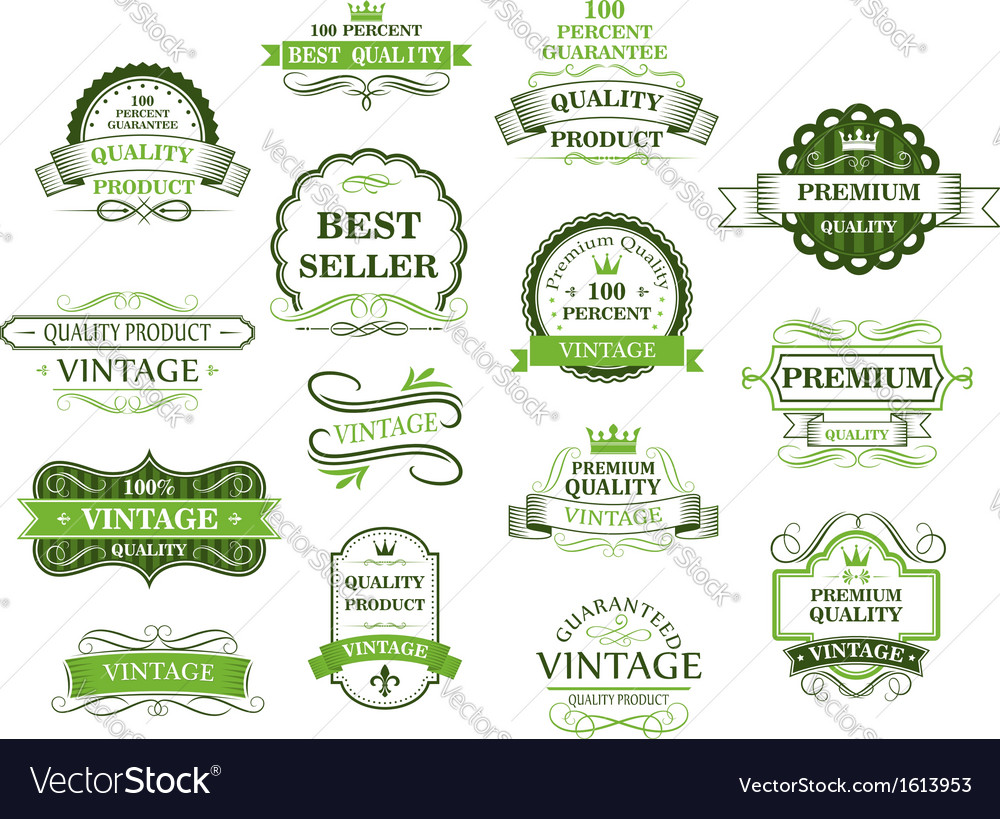 Green labels and banners vector | Price: 1 Credit (USD $1)