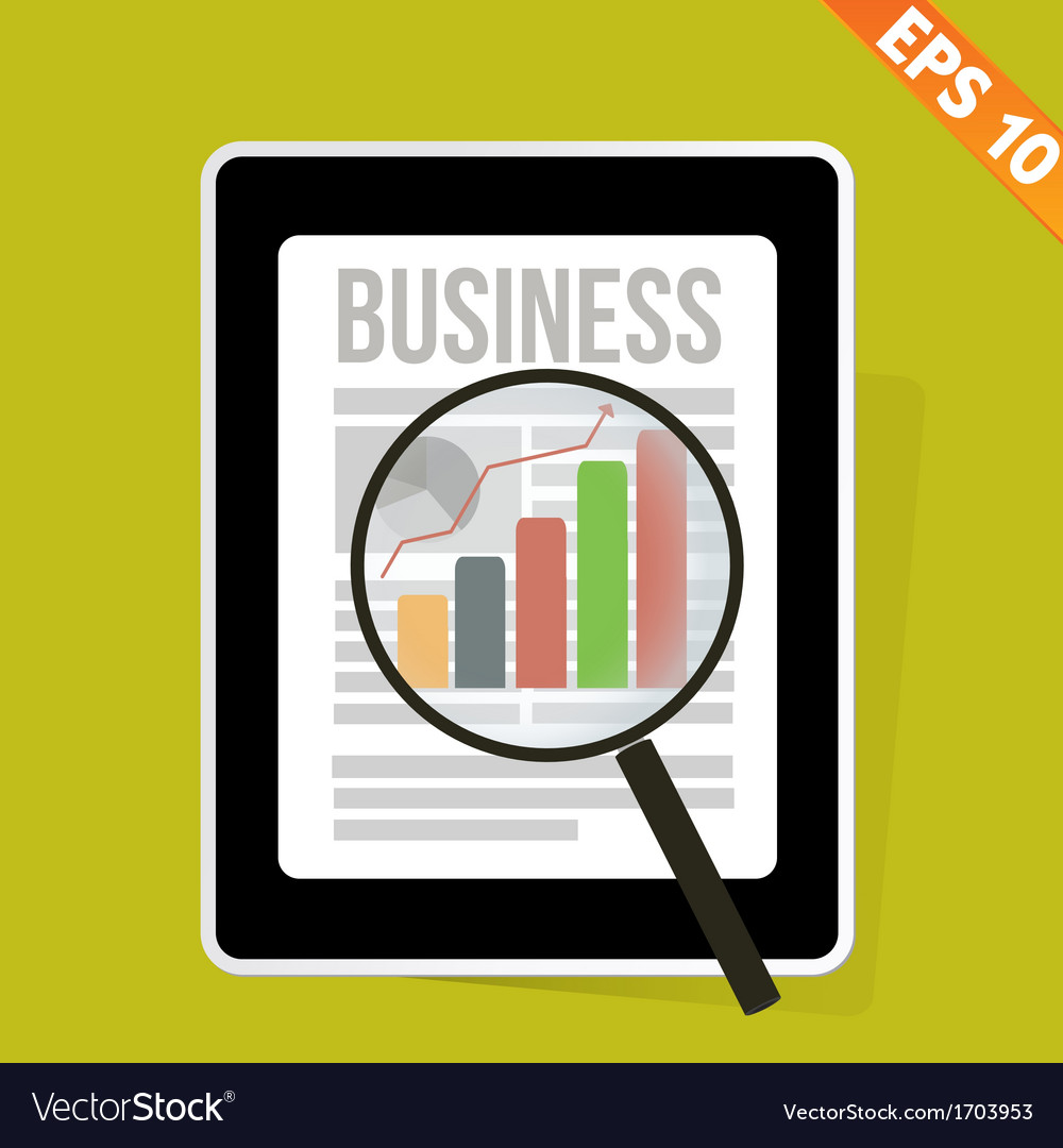 Magnifier enlarges chart in business news on vector | Price: 1 Credit (USD $1)