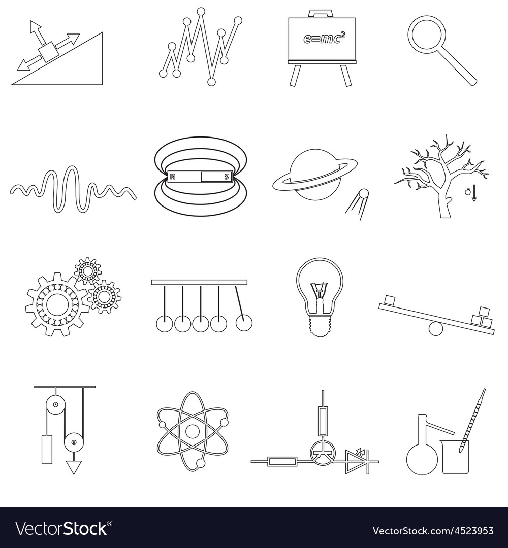 Physics outline simple icons set eps10 vector | Price: 1 Credit (USD $1)