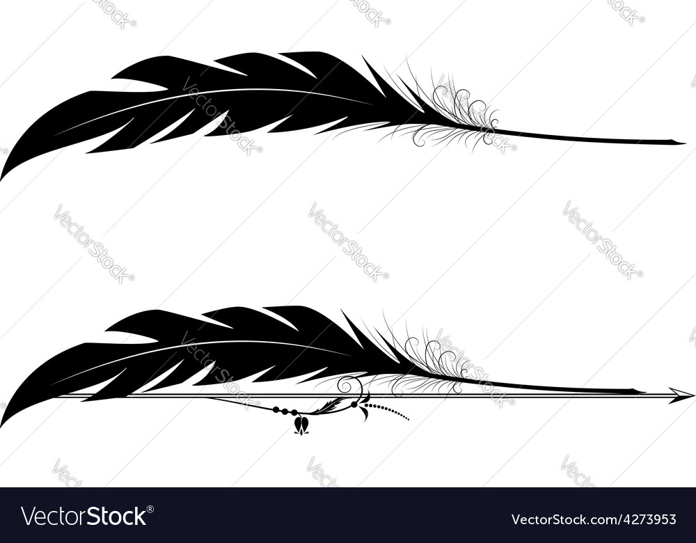Set of vignettes with feather pen vector | Price: 1 Credit (USD $1)