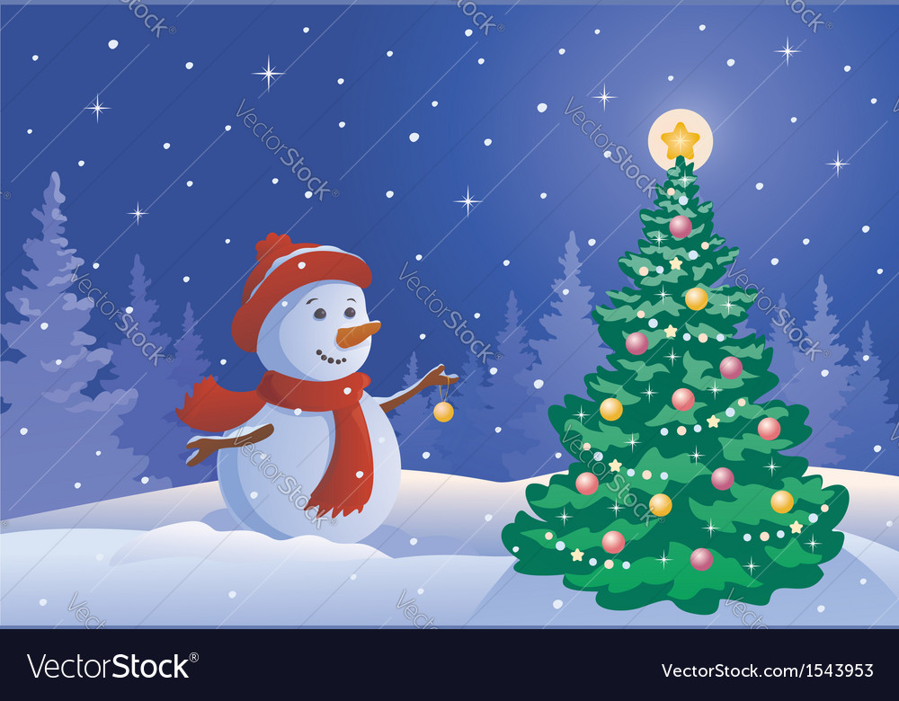 Snowman decorating a tree vector | Price: 1 Credit (USD $1)