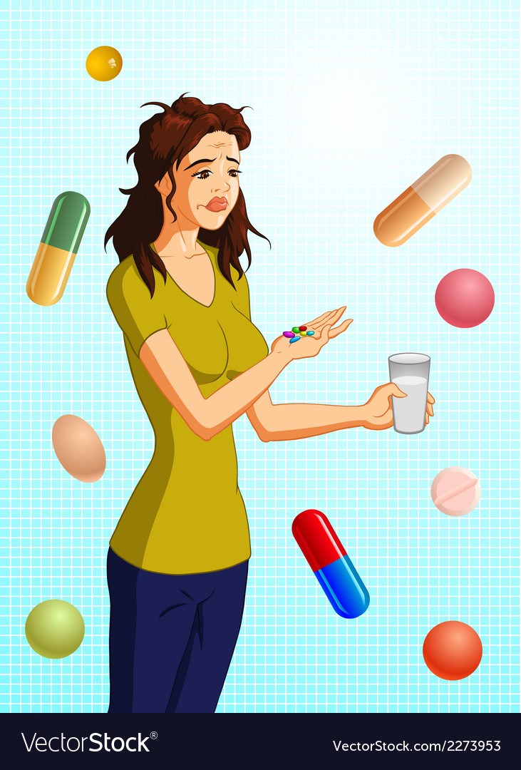 Woman taking pills vector | Price: 1 Credit (USD $1)