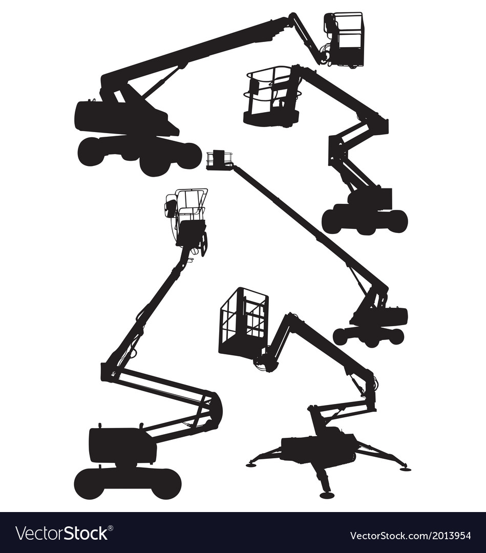 Articulated boom lifts vector | Price: 1 Credit (USD $1)