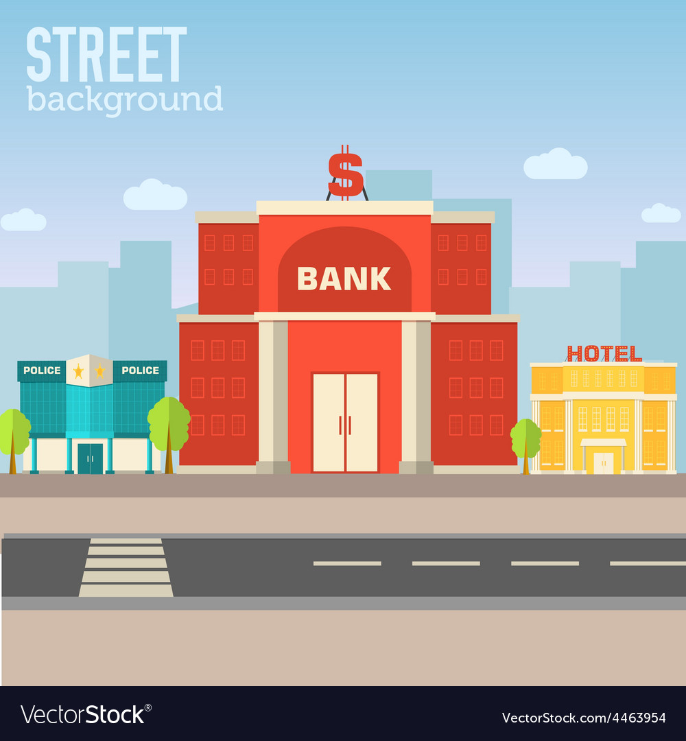 Bank building in city space with road on flat syle vector | Price: 1 Credit (USD $1)
