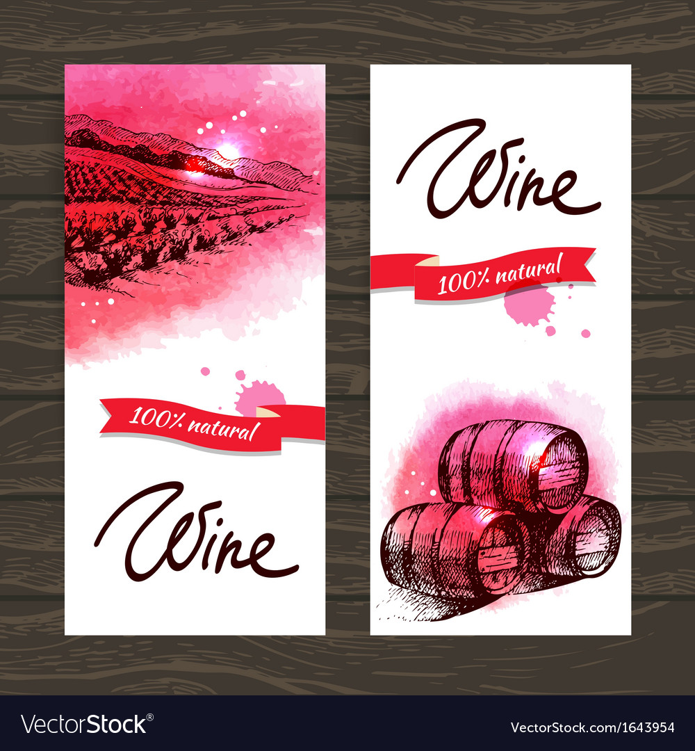 Banners of wine vintage background vector | Price: 1 Credit (USD $1)