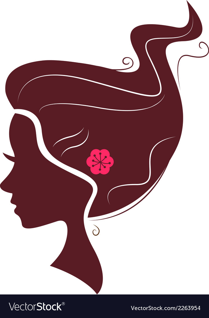 Beautiful brown hair silhouette isolated on white vector | Price: 1 Credit (USD $1)