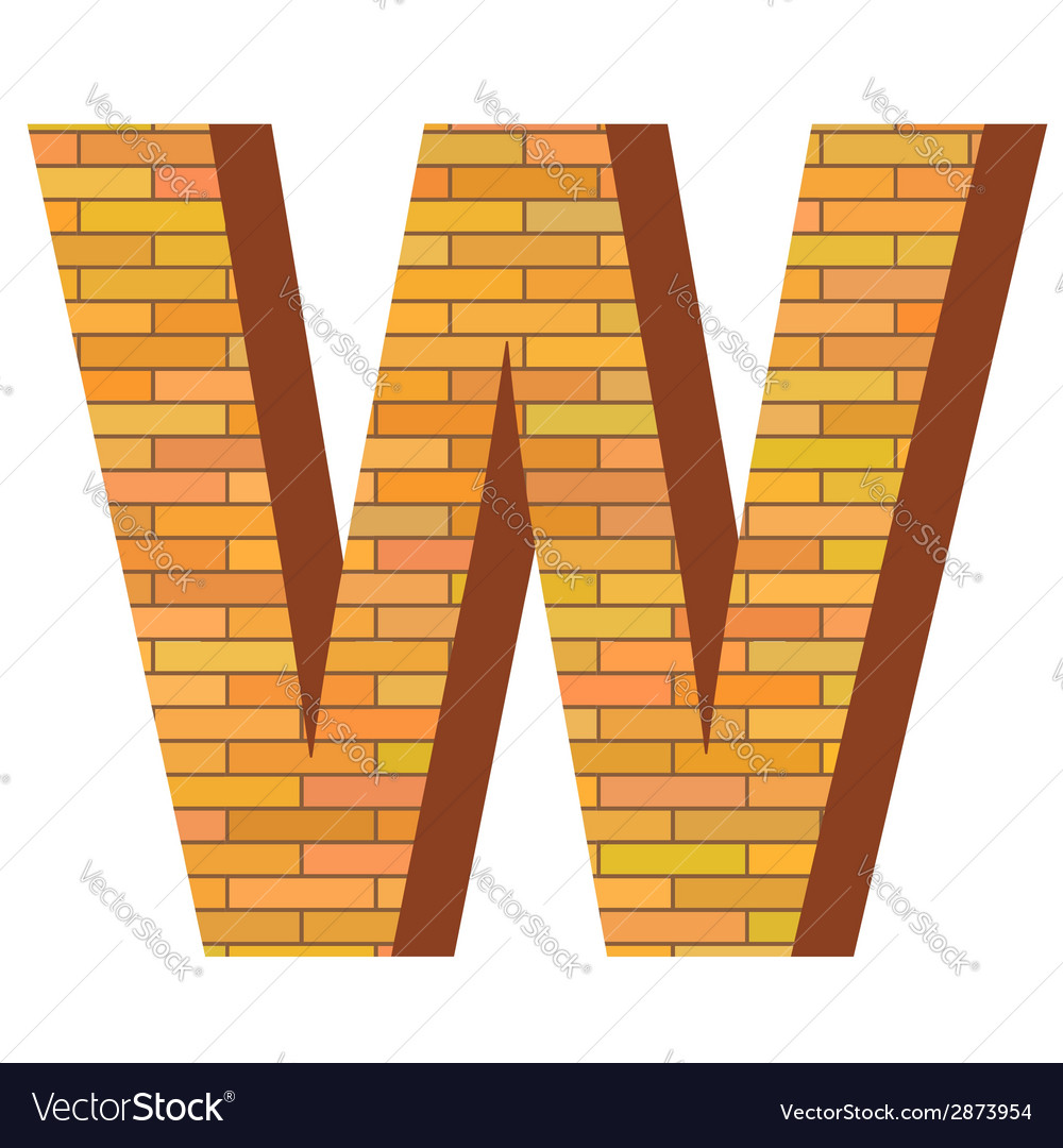Brick letter w vector | Price: 1 Credit (USD $1)