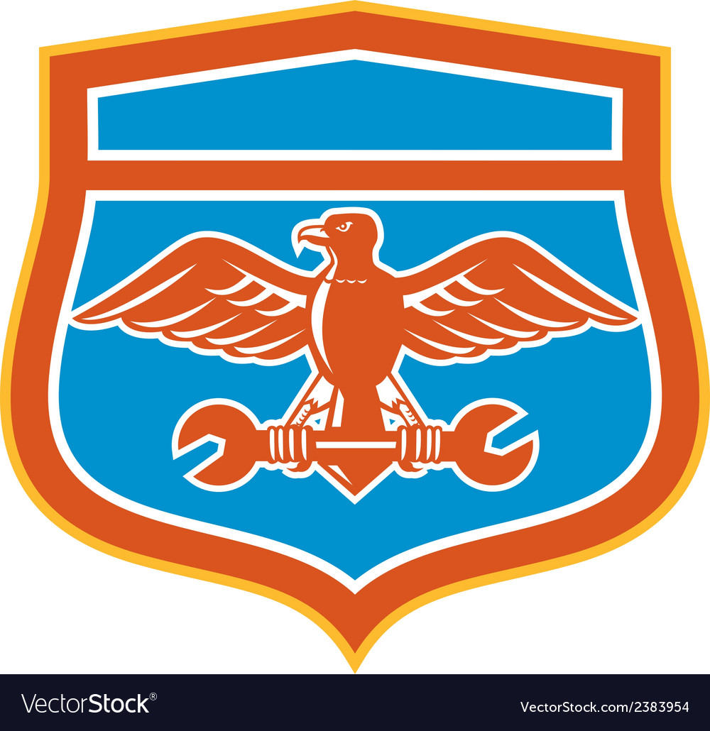 Eagle holding spanner shield retro vector | Price: 1 Credit (USD $1)