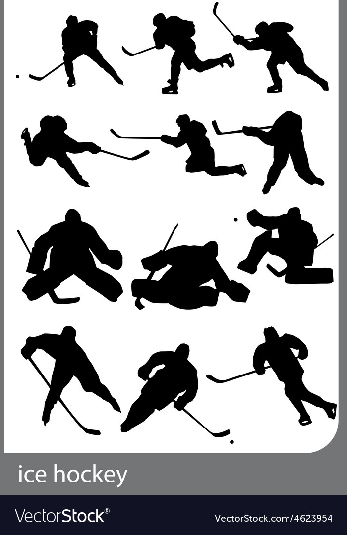 Ice hockey silhouettes vector