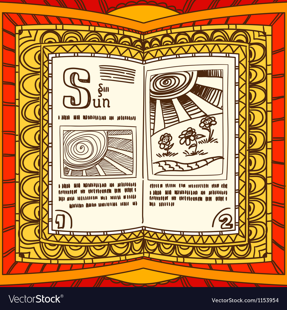 Magic book with the spell of sun vector | Price: 1 Credit (USD $1)