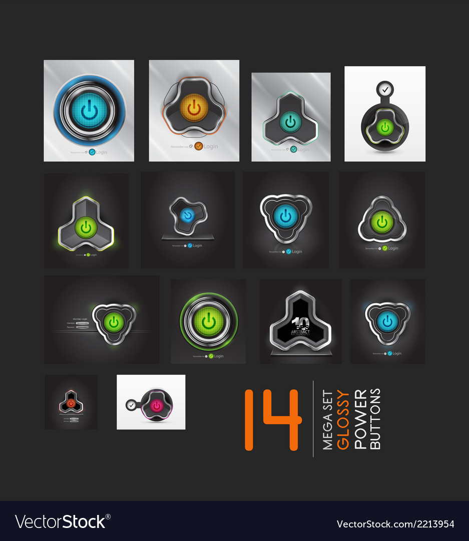 Mega collection of power buttons - icons vector | Price: 1 Credit (USD $1)