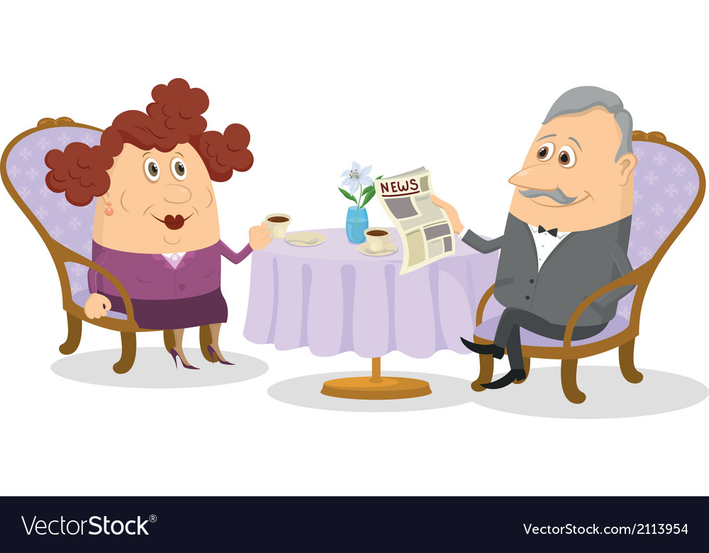 Old gentleman and lady drinking coffee vector | Price: 1 Credit (USD $1)