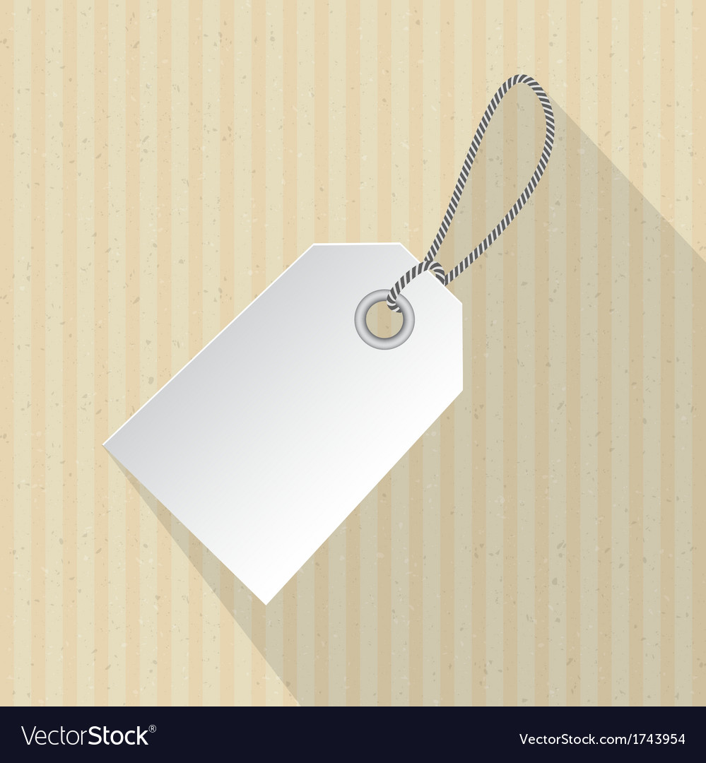 Paper label tag with string on cardboard vector | Price: 1 Credit (USD $1)
