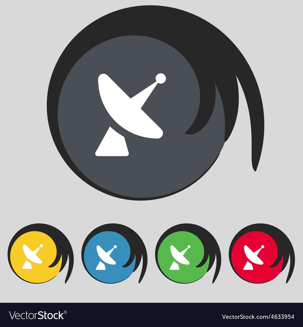 Satellite dish icon sign symbol on five colored vector | Price: 1 Credit (USD $1)