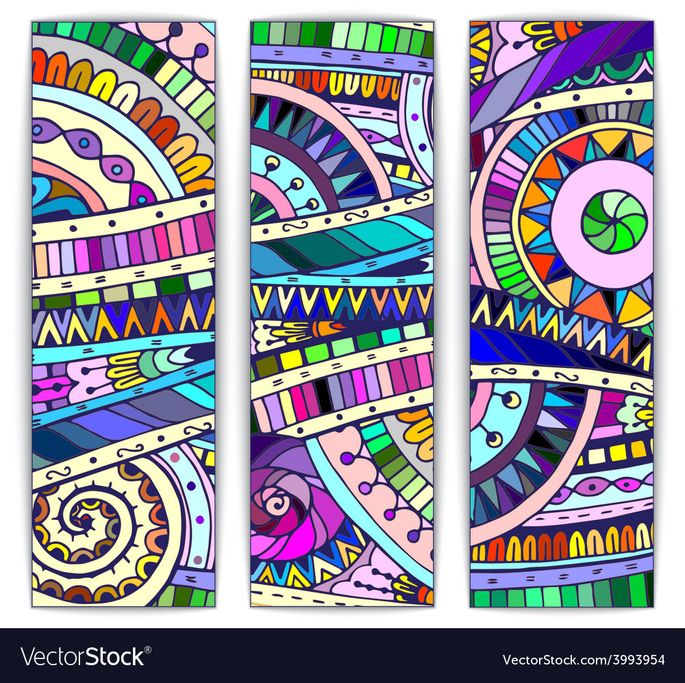Set of abstract doodle tribal cards vector | Price: 1 Credit (USD $1)