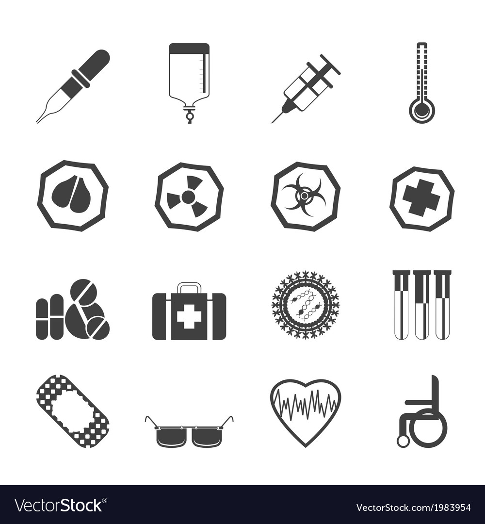 Simple medical themed icons and warning-signs vector | Price: 1 Credit (USD $1)