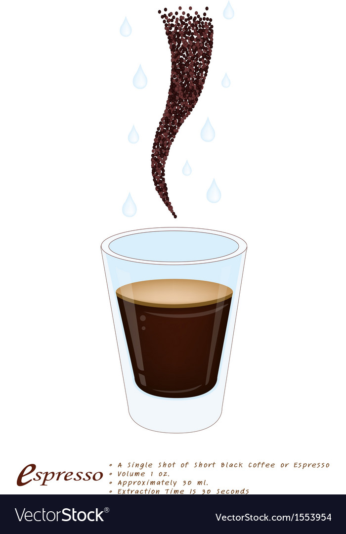 Single espresso coffee in a shot glass vector | Price: 1 Credit (USD $1)