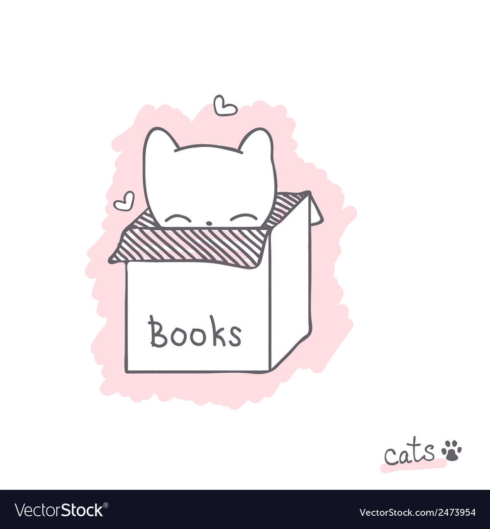 Sketch with kitten in the box vector | Price: 1 Credit (USD $1)