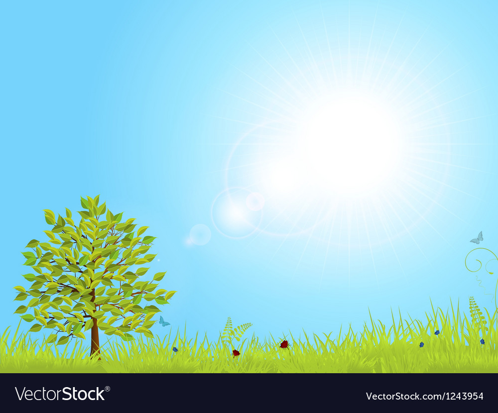 Spring landscape with blue sky vector | Price: 1 Credit (USD $1)