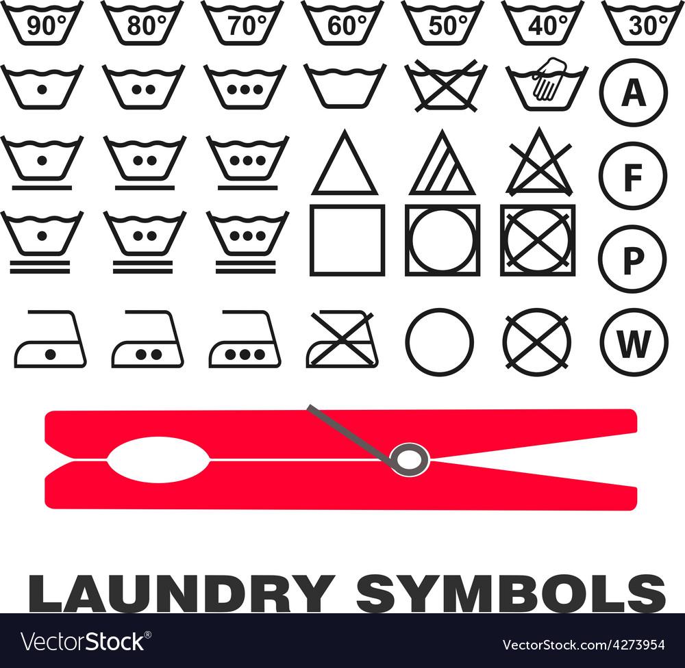 Wash care symbols vector | Price: 1 Credit (USD $1)