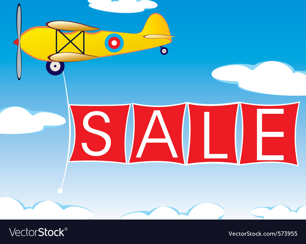 Airplane with banner vector | Price: 1 Credit (USD $1)
