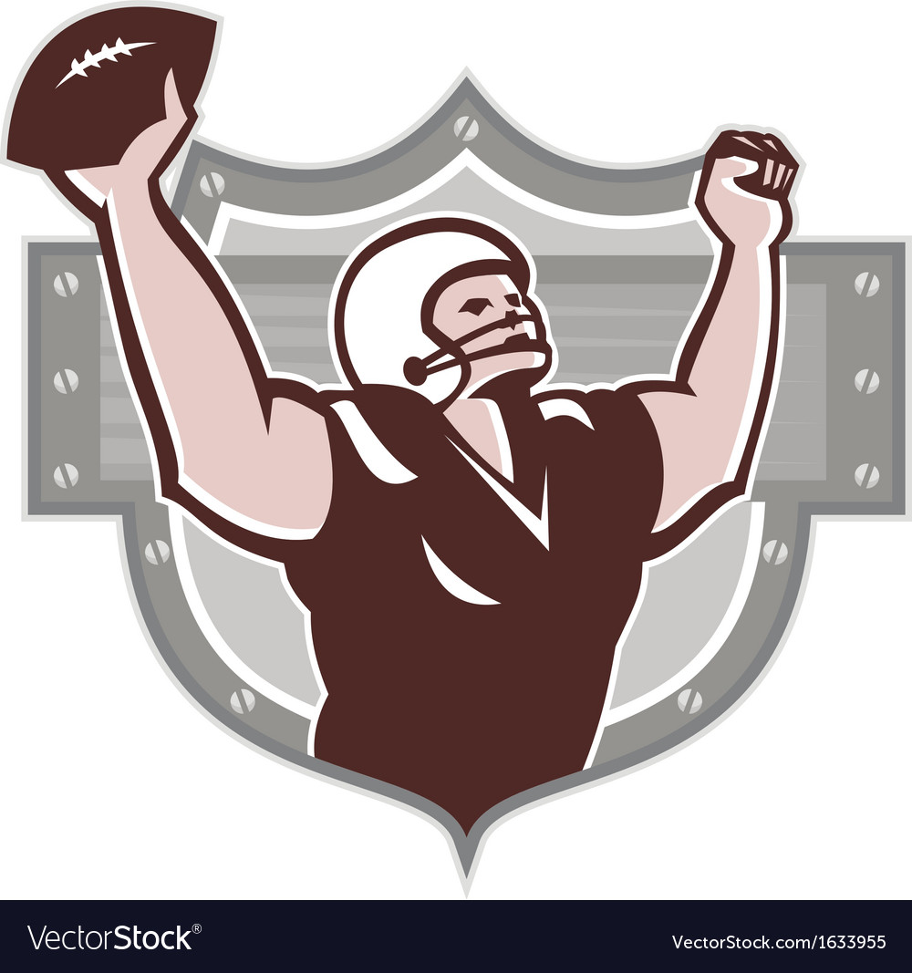 American football receiver touchdown retro vector | Price: 1 Credit (USD $1)