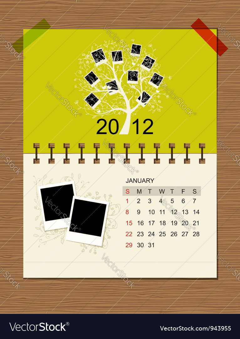 Calendar2012 january vector | Price: 1 Credit (USD $1)