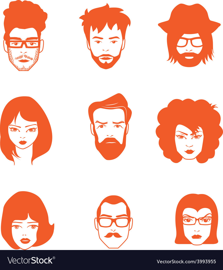Characters faces vector | Price: 1 Credit (USD $1)