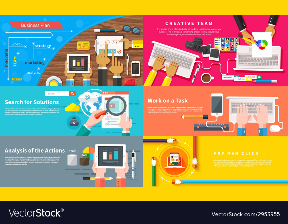 Creative team young design team working at desk vector | Price: 1 Credit (USD $1)