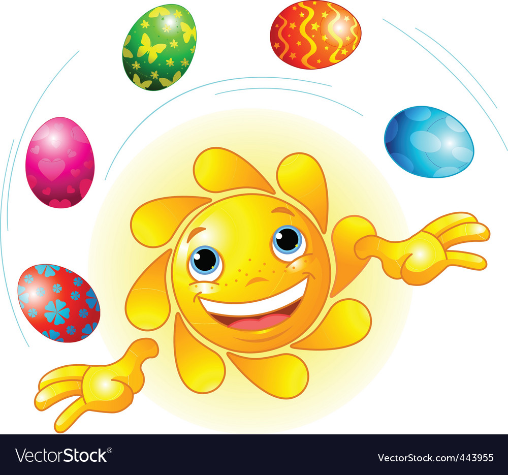 Cute easter sun juggling vector | Price: 1 Credit (USD $1)