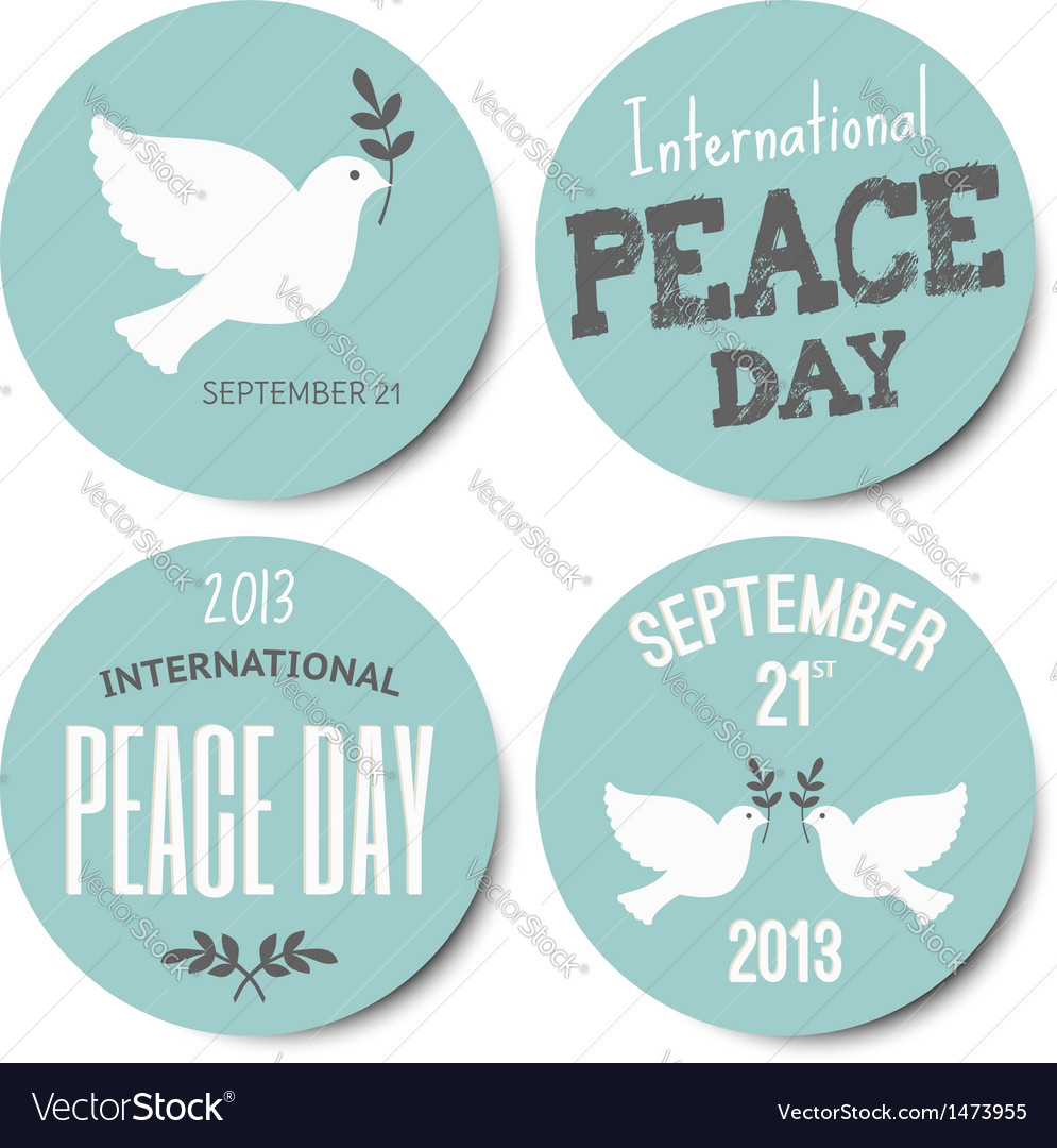 Peace day symbols stickers collection vector | Price: 1 Credit (USD $1)